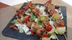 Kelbimbós-húsgolyós nyárs,mézes-gyömbéres mázzal! Gluténmentesen Potato Salad, Bacon, Potatoes, Keto, Chicken, Ethnic Recipes, Food, Red Peppers, Potato