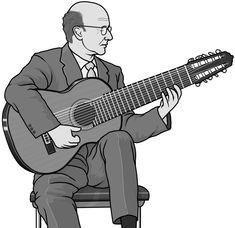 [ guitar / 10-string guitar ] plucked string instrument.