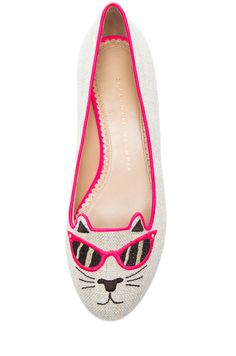 Charlotte Olympia|Sunkissed Kitty Flats in Fluorescent Pink. COME TO MAMA.