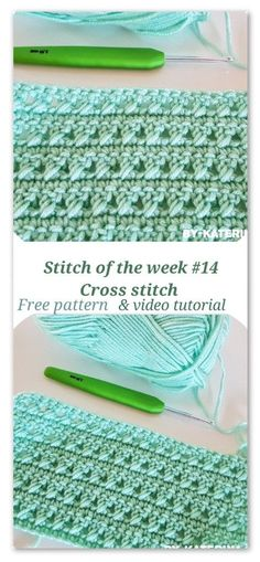 Crochet Afghan cross stitch - Cross stitch: an very easy and looking good stitch to try on your future projects. Free pattern and video tutorial to help you learn this stitch. Crochet Stitches Patterns, Knitting Stitches, Crochet Designs, Stitch Patterns, Knitting Patterns, Crotchet Stitches, Sock Knitting, Knitting Machine, Lace Patterns