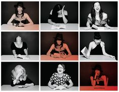 """The author (top left; center; bottom right) and others in stills from """"Hysterical Literature."""" Video stills by Clayton Cubitt."""