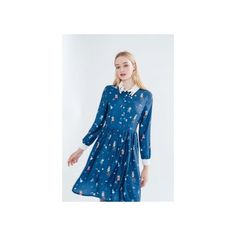 Ziggy Cat Dress (David Bowie Inspired Print) (€83) ❤ liked on Polyvore featuring dresses, vintage style dresses, mixed print dress, blue pattern dress, pattern dress and cat print dress