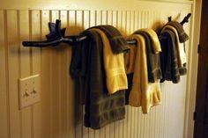 tree branch towel rack