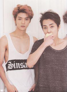 Xiumin (시우민) and Lu Han (鹿晗,루한) when he was with EXO (엑소).