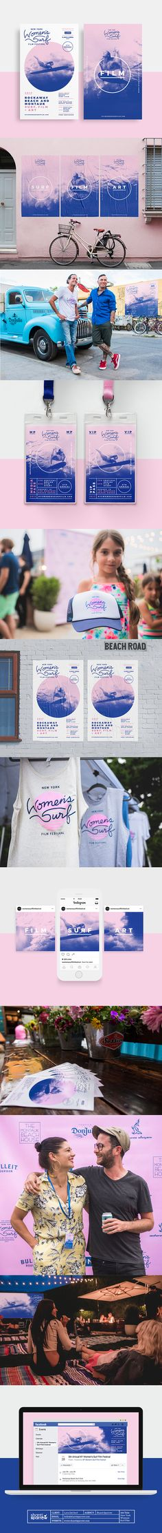 Design by Shanti Sparrow www.shantisparrow.com Event Branding Design: The New York Women's Surf Film Festival #branding #event #eventbranding #rollout #filmfestival #poster #design #graphicdesign