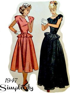 Vintage 40s Simplicity 2238 Pattern Misses One Piece Day Time or Evening Dress with Peplum Uncut Size 14 Bust 32 p2z