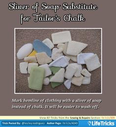 Sewing & Repairs - Sliver of Soap Substitute for Tailor's Chalk