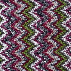Mood fabric -dress?   Italian Ivory & Green Multicolor Flamestitch Wool Knit