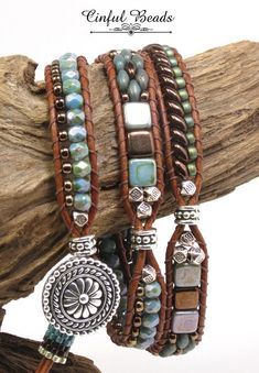 A stylish Bohemian wrap bracelet. This bracelet has 3 sections and features diff… - boho Beaded Leather Wraps, Leather Cuffs, Leather Earrings, Leather Jewelry, Gold Leather, Stud Earrings, Hippie Jewelry, Diy Jewelry, Beaded Jewelry