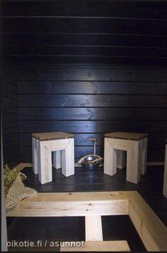 Dark sauna / Tumma sauna Finnish Sauna, Saunas, Joinery, Bathroom Inspiration, Interior Decorating, Spa, Relax, Woodworking, Lounge