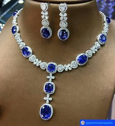 Fabulous shine of this blue sapphire necklace and earrings will make your day special. Gems Jewelry, High Jewelry, Modern Jewelry, Gemstone Jewelry, Jewelery, Jewelry Necklaces, Diamond Necklaces, Sapphire Necklace, Sapphire Jewelry
