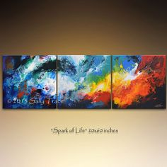 Abstract Paintings, acrylic painting, enhanced giclee painting, triptych painting, three canvases ... Spark of Life on Etsy, $375.00