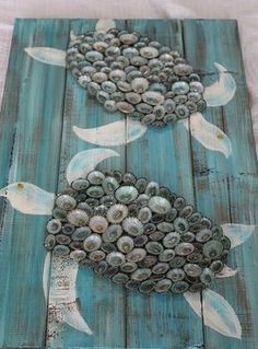 Shell Turtle. Turtle art. Turtle on pallet. by FromCapeMayWithLove