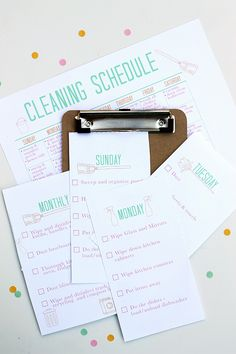 Printable Cleaning Schedule from Squirrelly Minds.