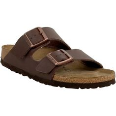 Birkenstock Arizona Birko-Flor Unisex Slide Sandal ($100) ❤ liked on Polyvore featuring shoes, sandals, brown, monk-strap shoes, adjustable sandals, strap sandals, slide sandals and cork sandals