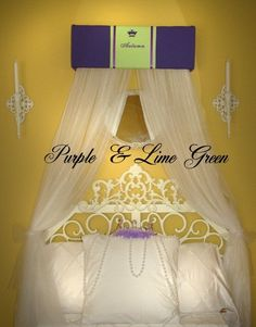 Embroidered Personalized Bed Canopy Crown SaLe Purple Lime Green Princess by SoZoeyBoutique on Etsy