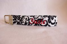 Black and White Damask - Fabric Key FOB wristlet - Personalization Available by TheEmPURRium on Etsy