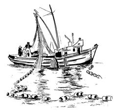 Fishing Boat Dropping Net In The Sea Coloring Pages : Kids Play Color Boat Drawing, Line Drawing, Coloring Pages For Kids, Coloring Books, Archangel Tattoo, Line Sketch, Ship Paintings, Boat Art, Cartoon Sketches