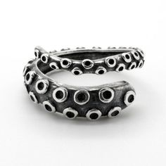 Dark Sterling Silver Octopus Tentacle Ring - makes a great Valentine's day gift for him!