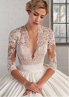 Buy discount Marvelous Tulle & Satin Queen Anne Neckline A-line Wedding Dresses with Lace Appliques at Dressilyme.com