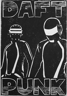 Daft Punk is a part of electronic and dance music genres so these are significant to the genre Dance Music, Dj Music, I Love Music, Music Is Life, Music Fest, Music Stuff, Daft Punk Poster, Linocut Prints, Poster Prints