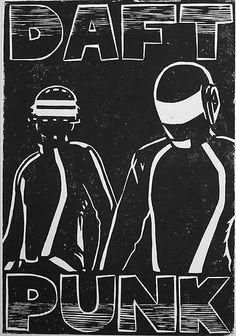 Daft Punk original linocut print poster