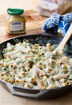 Easy Spinach Artichoke Pasta! #pasta #spinachartichoke #recipe