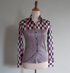 Vintage 1970s Shirt  Red White and Blue NikNik by BadChollaVintage, $52.00