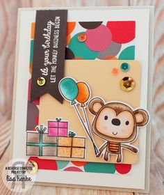 Card by Lisa Henke. Reverse Confetti stamp set: Monkey Business. Confetti Cuts: Monkey Business and Stitched Flag Trio. Quick Card Panels: Let's Celebrate.