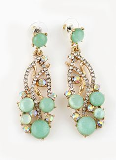 Green Gemstone Gold Crystal Earrings - $7.34