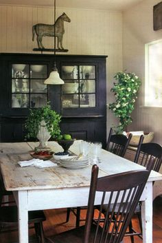 Primitive Farmhouse Dining...love this minus the horse on the wall