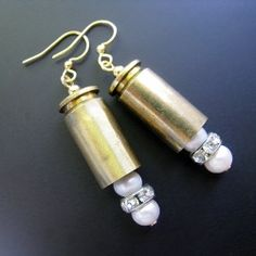 """Brass Bullet Case Earrings with Pearls gold filled chain, beads, natural fresh water pearls, silver plated clear crystal rondelles, and GF earwires. 2"""" (5cm) from top to bottom"""