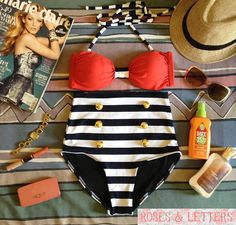 Kelly - Retro Vintage Pin Up Handmade Red Black White Stripes High Waist Bikini Swimsuit Swimwear