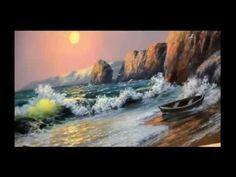 Pintar atardecer en el Mar al oleo