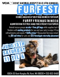 #Washington, June 15th is the #VCA Kent Animal Hospital's 3rd Annual Fur Fest! Come help find homes for our furry friends in need at this free event with on-site #animal #rescue groups. Early attendees will receive #free gift bags and vendors will have exciting products for both you and your #pet! See the event details now!