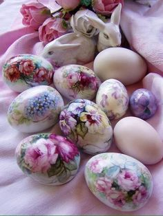 Made using polystyene eggs and floral servettes or soft tissue wrapping paper