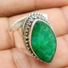 Solid 925 Sterling Silver Emerald Sapphire Handmade Jewelry Vintage Ring S-7""