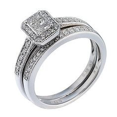 9ct White Gold Half Carat Diamond Bridal Ring Set - H.Samuel the Jeweller