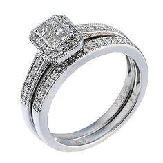 9ct White Gold Half Carat Diamond Bridal Ring Set - Product number 6665985