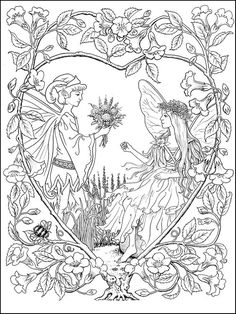 Free fairy coloring page by Ruth Sanderson Fairy Coloring Pages, Coloring Pages To Print, Free Printable Coloring Pages, Coloring Sheets, Coloring Books, Free Adult Coloring, Mandala Coloring, Illustration, Instant Access