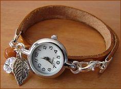 Women wrist watch with handmade leather bracelet wrap Beaded Watches, Jewelry Watches, Stylish Watches For Girls, Jewelry Accessories, Women Jewelry, Leather Jewelry, Fashion Watches, Watch Bands, Bracelet Watch