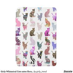 Shop Girly Whimsical Cats aztec floral stripes pattern iPad Mini Cover created by girly_trend. Personalize it with photos & text or purchase as is! Floral Stripe, Retro Design, Cat Design, Fabric Patterns, Aztec, Decorative Pillows, Pattern Design, Whimsical, Girly