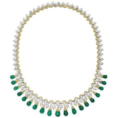 Estate Buccellati Emerald Drop Fringe Necklace