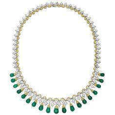 Estate Buccellati Emerald Drop Fringe Necklace