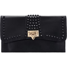 SheIn(sheinside) Black Rivet Clutch Bag ($17) ❤ liked on Polyvore featuring bags, handbags, clutches, bolsas, black, messenger handbag, satchel bag, spiked purse, black satchel and black handbags