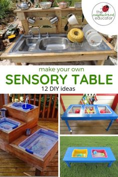 How to build your own water & sand sensory table for play. DIY sensory table ideas for sand play or water play - fun diy resources for early learning educators. Sensory Table, Baby Sensory, Sensory Bins, Sensory Activities, Infant Activities, Sensory Play, Activities For Kids, Indoor Activities, Water Table Diy