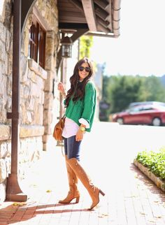 Kelly green sweater over a white button down with cognac knee high boots and matching handbag / Casual outfit