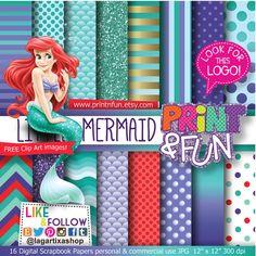 The Little MERMAID Ariel Digital Paper Background by Printnfun, €3.00