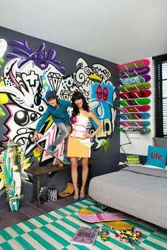 Athena Calderone's Living Room - Pictures from Athena Calderon's Brooklyn Apartment - Harper's BAZAAR Graffiti Bedroom, Graffiti Wall Art, Bedroom Murals, Kids Bedroom, Bedroom Ideas, Bedroom Designs, Bedroom Wall, Kids Rooms, Master Bedroom