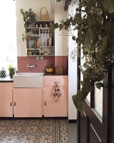"""750 Likes, 9 Comments - Moon To Moon (@moontomoon) on Instagram: """"Pretty in Pink...... Dreamy simple kitchen Photo by @bonjour_diary #pinkkitchen"""""""